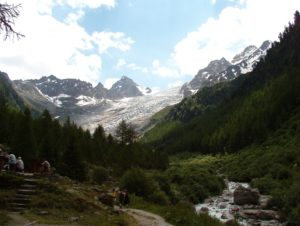 The glacier and the Trient River