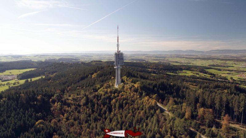 Vue de l'antenne du Mont-Gibloux depuis un drone.