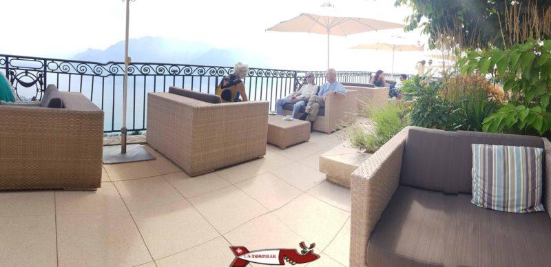 La terasse de l'hôtel Mirador proche du funiculaire Vevey Mont-Pelerin