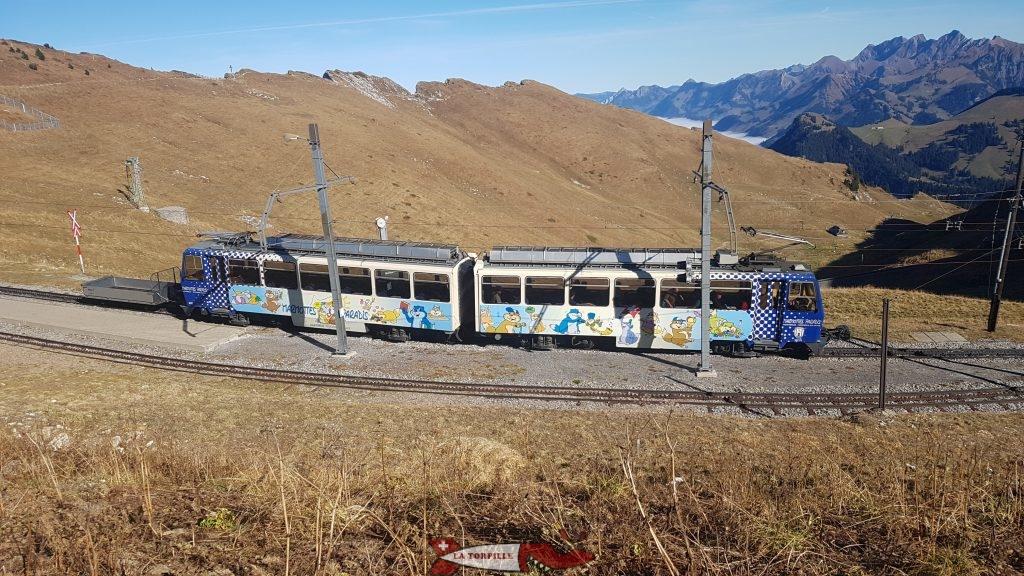 Le train Montreux-les Rochers de Naye en gare des Rochers de Naye.