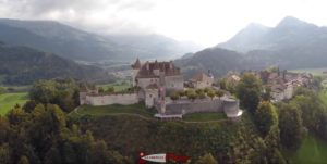 The magnificent castle of Gruyères, headquarters of the Counts of Gruyères.