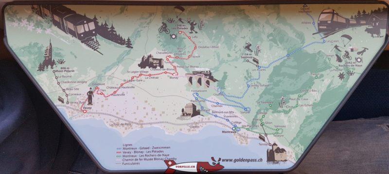 Dessin des trains et funiculaires de la Riviera sur la tablette du train des Pléiades.