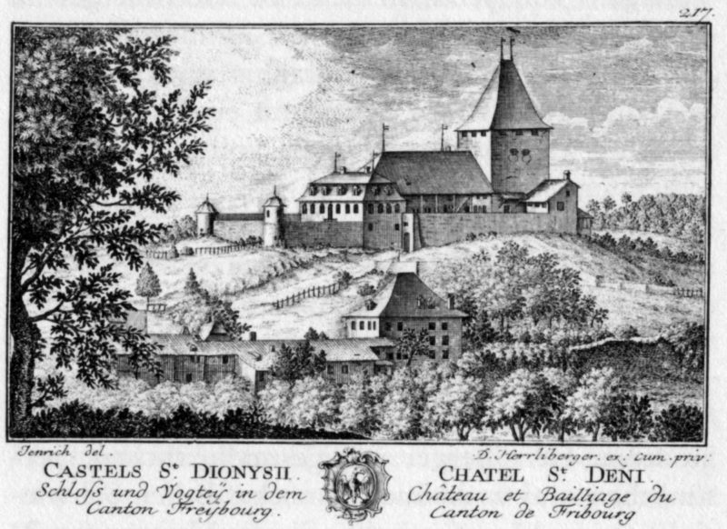 Le château de châtel-saint-denis en 1754 avant l'incendie du donjon