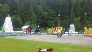 bouncy castles close to the summer toboggan in Moléson - Moléson amusement park
