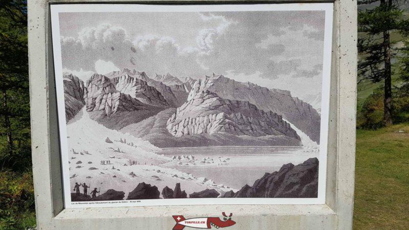 Un dessin montrant le glacier du Gietroz obstruant l'écoulement de la rivière.
