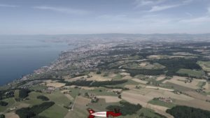 Aerial view above the Gourze tower over the Lausanne region.