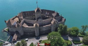 The castle of Chillon seen from the airplane