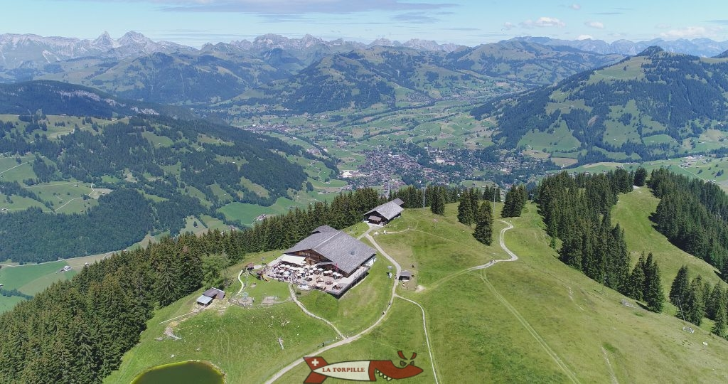 The drone view of Gstaad from the top of the Wispie.