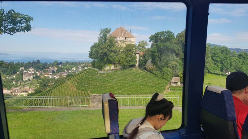 The Châtelard castle from the MOB train.