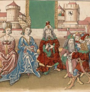 Duke Berchtold of Zähringuen and his wife with the city of Bern at the far right with the old city crest.