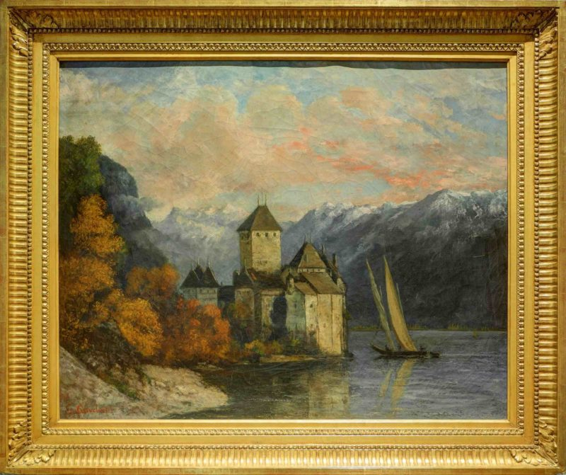 Huile sur toile du château de châtel aux Musée des Beaux-Arts de Belfort peint par Gustave Courbet