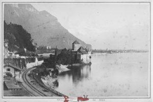 The chillon castle in the 19th century