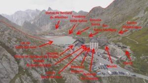 Emplacement des curiosités à l'Hospice du Grand-Saint-Bernard
