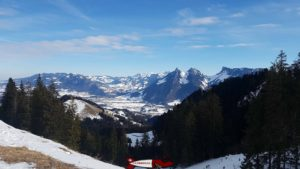 View from the Moléson Winter Sledge Run on Gruyère Castle