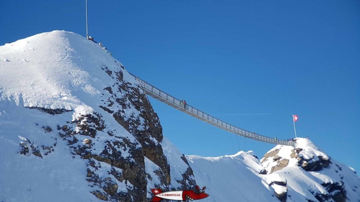 La passerelle Peak-Walk aux Diablerets dans le canton de Vaud, elle permet de profiter depuis le Scex Rouge d'une magnifique vue sur les Alpes.