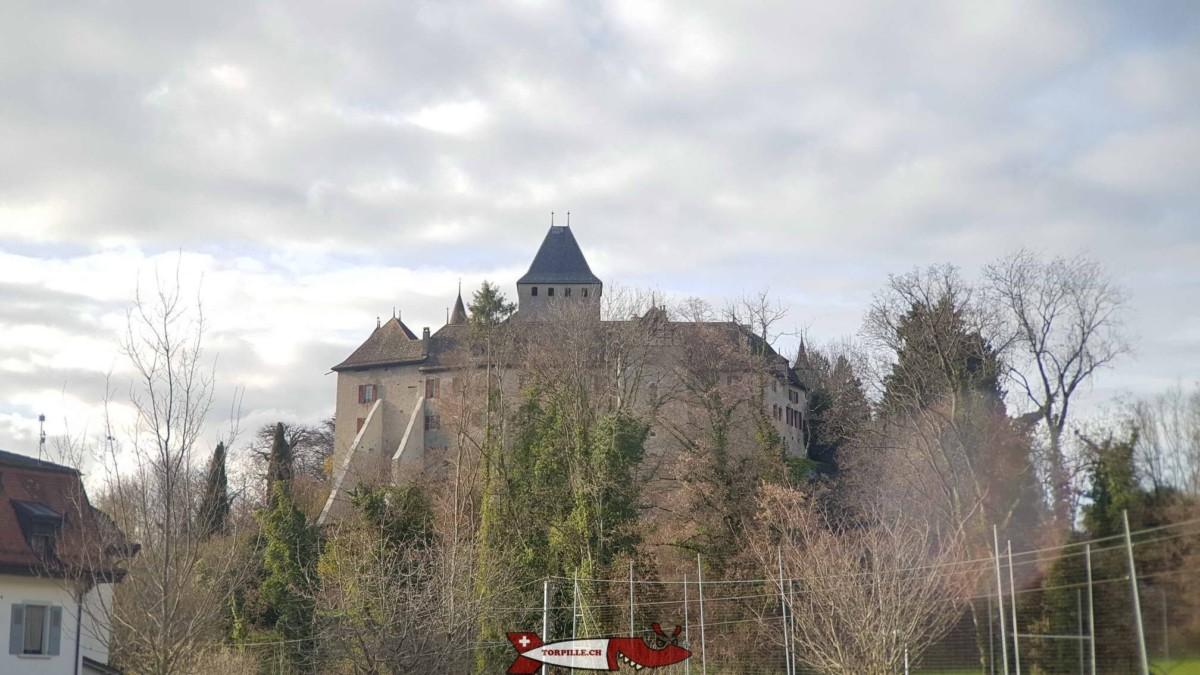 Le château de Blonay avec son donjon central.