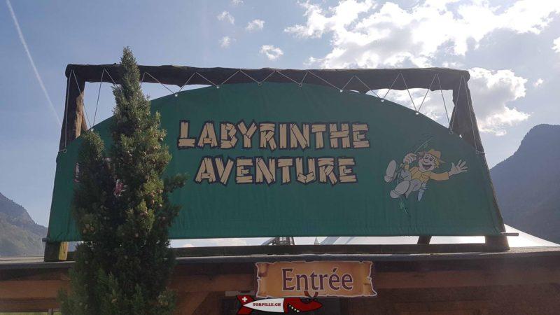 L'entrée du parc Labyrinthe Aventure Evionnaz.