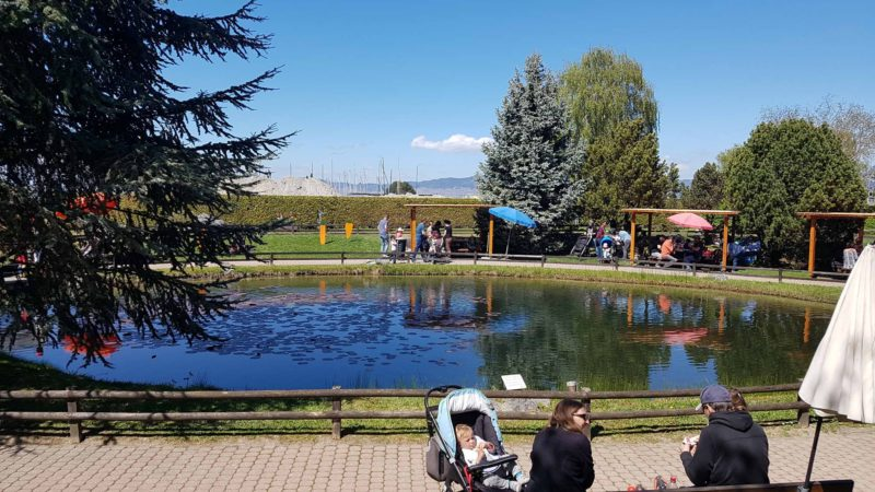 Le petit lac avec les tables de pic-nic au Swiss Vapeur Parc.