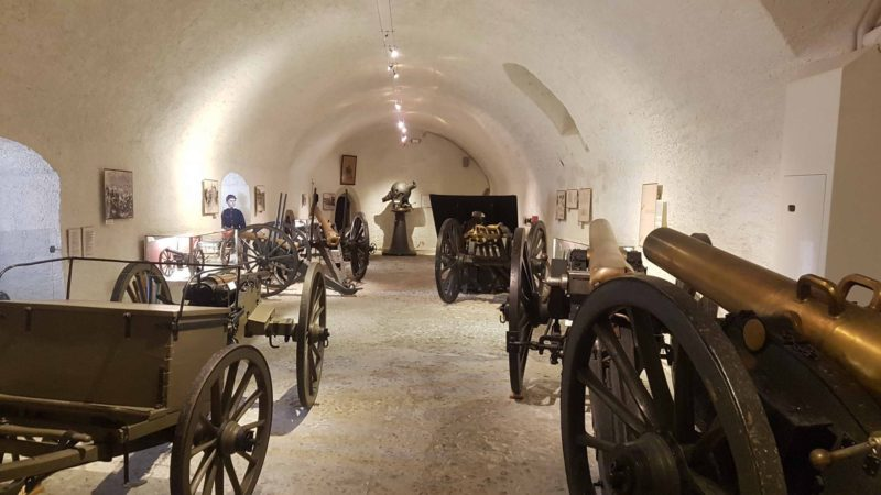 Artillery pieces in the cellars of the Morges Castle.