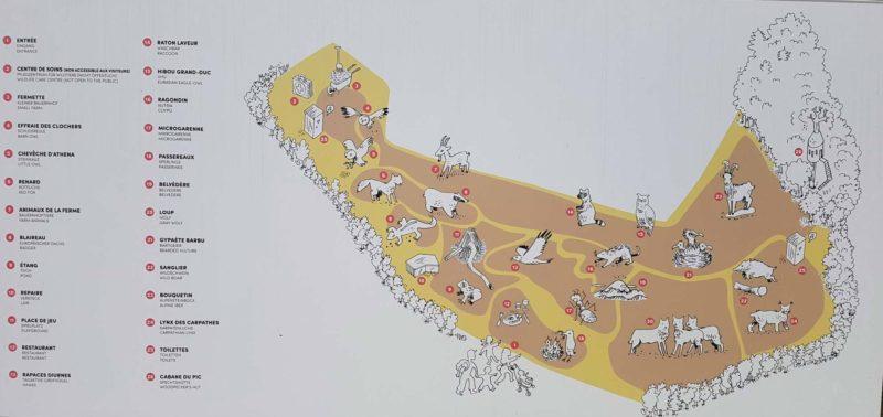 Plan du zoo de la Garenne.
