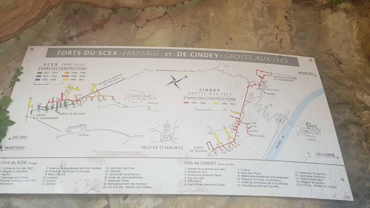 Plan des forts de Cindex et du Scex - forts militaires de suisse romande