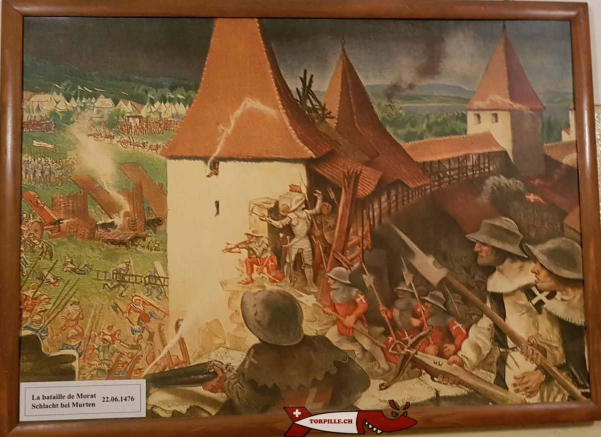 Un tableau de la bataille de Morat exposé au Fort Cindey pour soutenir la troupe.