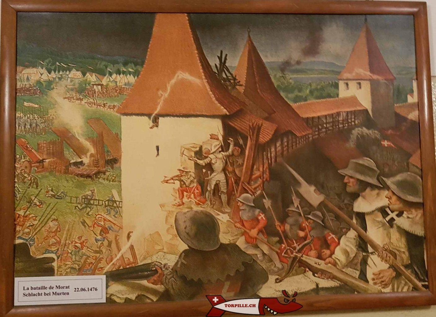 Tableau de la bataille de morat au Fort Cindey - château de Suisse Romande