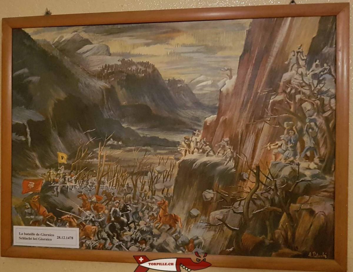 Le tableau de la bataille de Giornico exposé au fort Cindey pour soutenir la troupe.