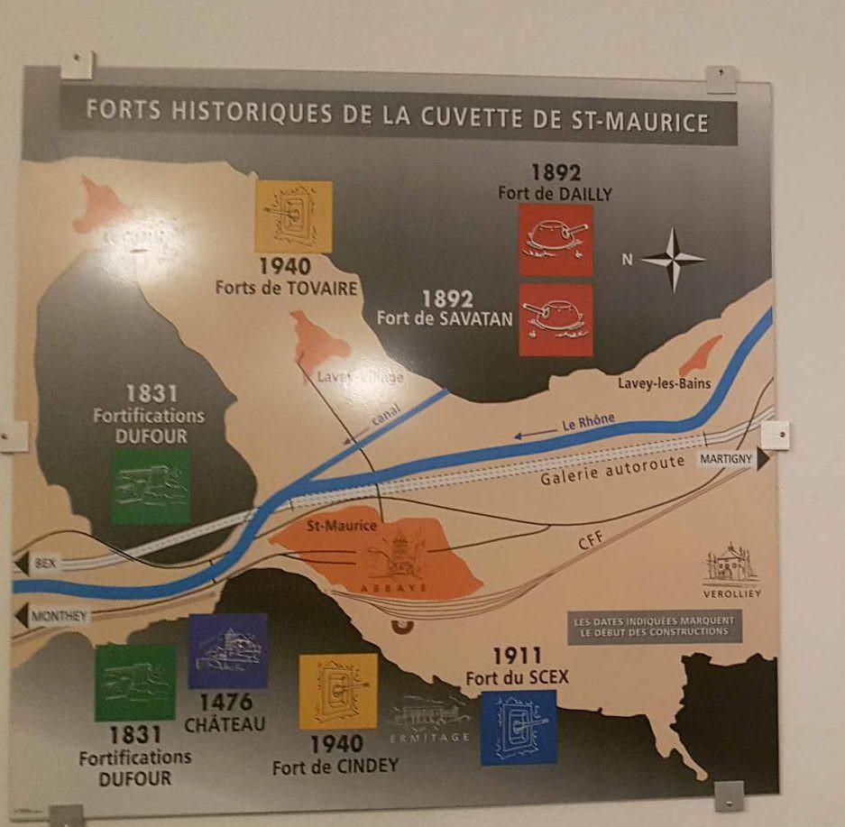 une carte des forts historiques de la cuvette de St-Maurice au Fort Cindey