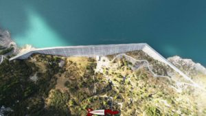 The Salanfe dam as seen from the air - Hydroelectricity in French-speaking Switzerland