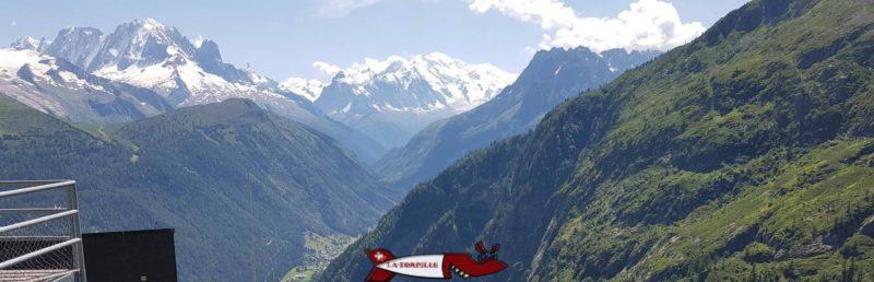 Vue sur le Mont-Blanc depuis l'arrivée du minifunic de Verticalp