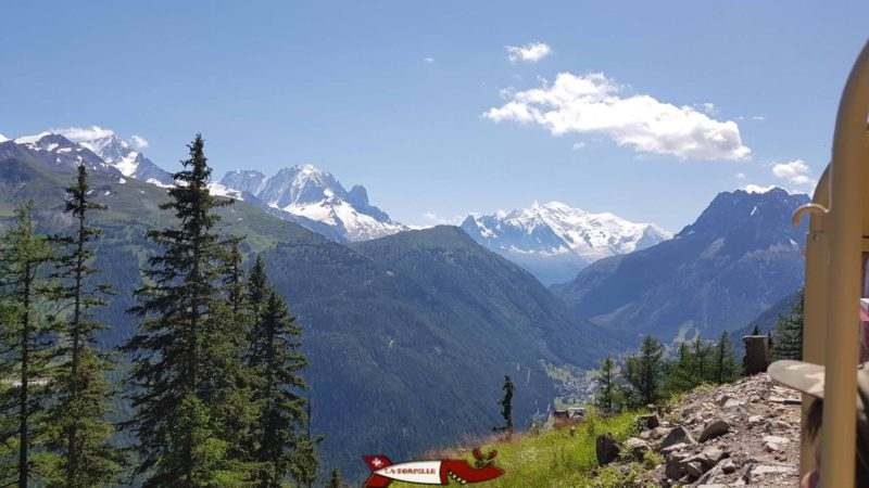 La vue sur le massif du Mont-Blanc depuis le petit train.