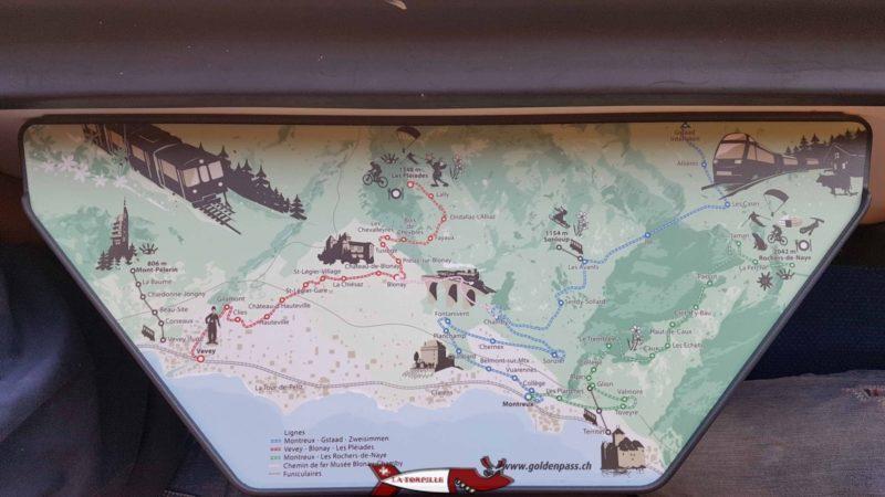 Une carte des trains et funiculaires de la Riviera vaudoise.
