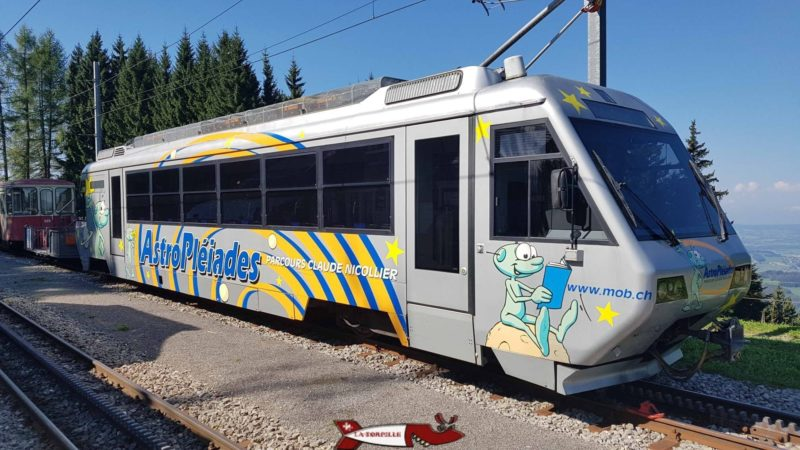 The Vevey - Les Pléiades train at Les Pléiades station.
