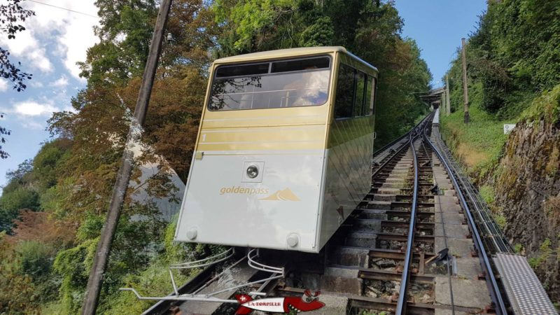 The Territet-Glion funicular with the GoldenPass logo.