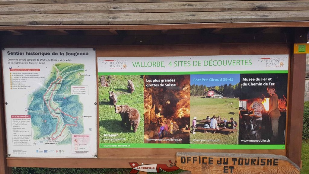 A map presenting the 4 activities in Vallorbe.