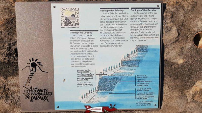 Informations géologiques au dezaley sur le passage du train LAvaux Express Cully