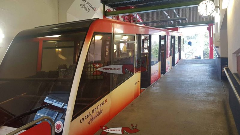 The Sierre-Montana-Crans (SMC) funicular in Sierre station.