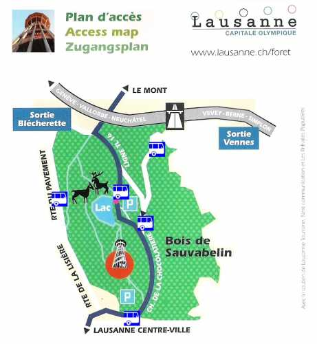 The access map to the Sauvabelin Park designed by the city of Lausanne.