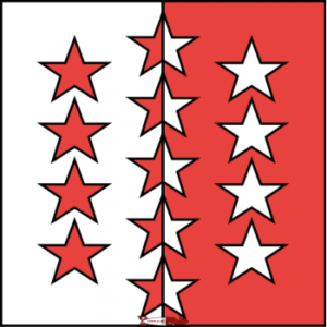 The flag of Valais has a star for each of the thirteen districts.