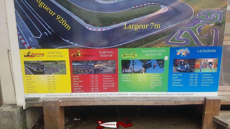 Un panneau publicitaire présentant les 4 activités de Payerneland.