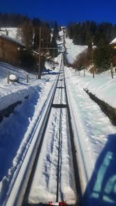 The ascent by funicular from Les Avants.