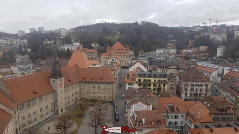 le château Saint-Maire depuis le sommet du beffroi.
