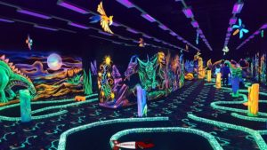 The minigolf room at Fun Planet Rennaz