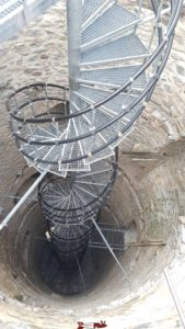 The spiral metal stairs inside the keep of the Saxon castle.