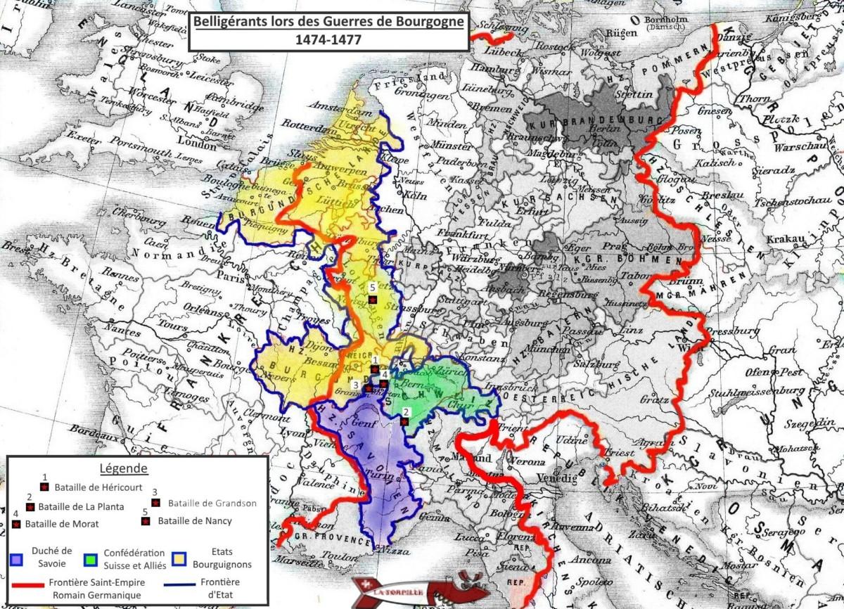 Carte des batailles des guerres de Bourgogne - château de Suisse Romande