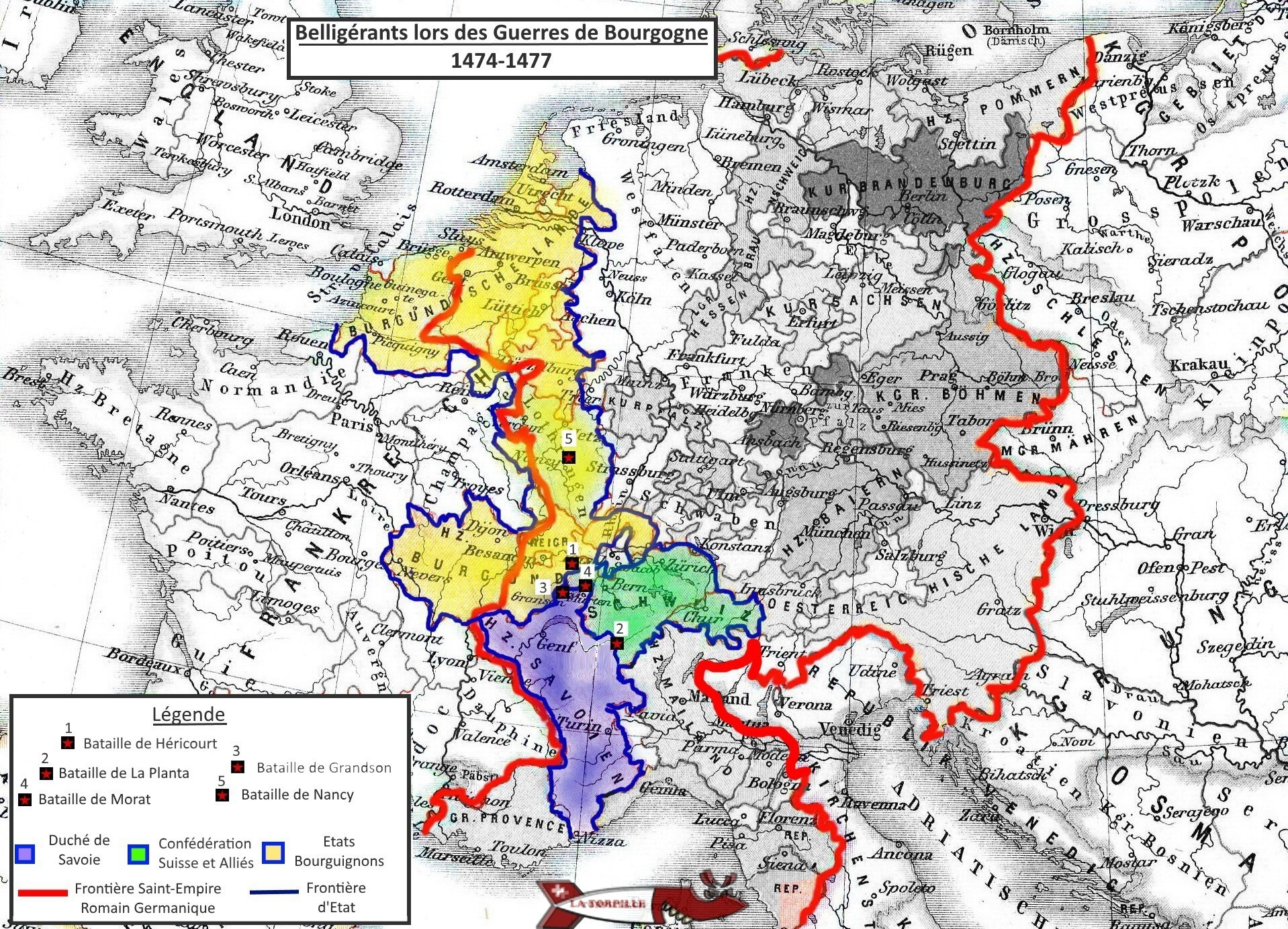 A map showing the territory of the parties in conflict during the Burgundian Wars.