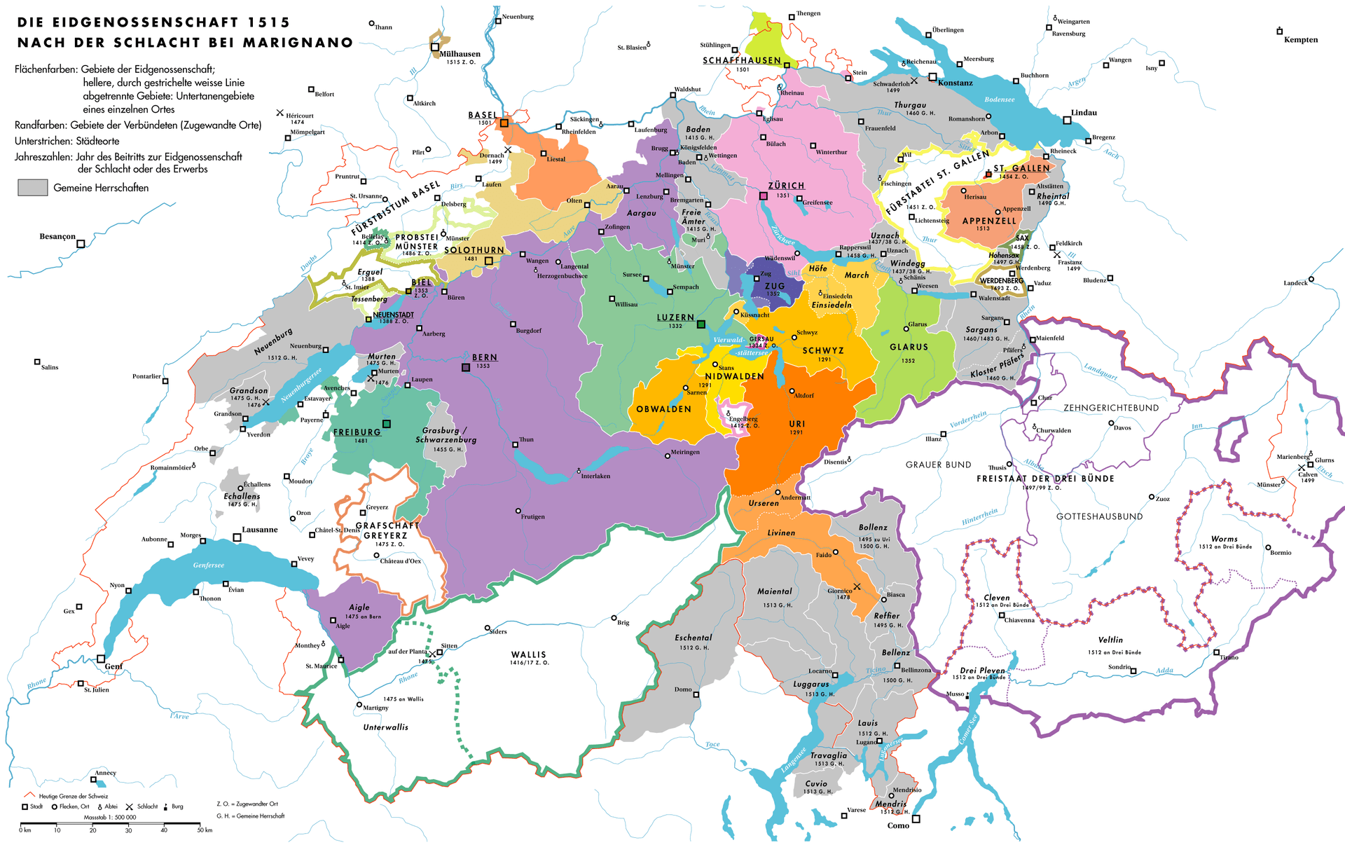 A map of the Confederation in 1515 after the Burgundian Wars.