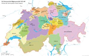 Carte de La Suisse en 1814 après le traité de Vienne