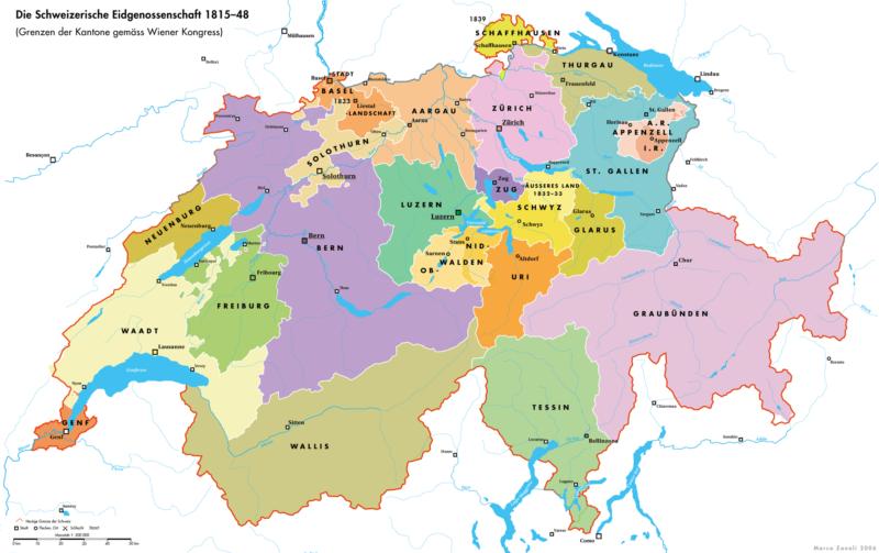 La Suisse en 1814 après le traité de Vienne.